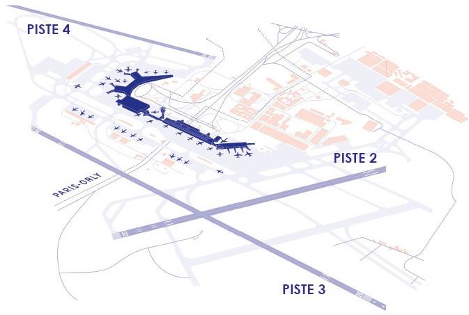 Plan des pistes à Paris-Orly